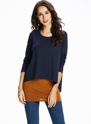 Solid Casual Polyester Round Neckline Long Sleeve Blouses