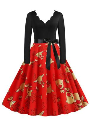 Christmas Animal V-Neckline Midi X-line Dress (125152904)