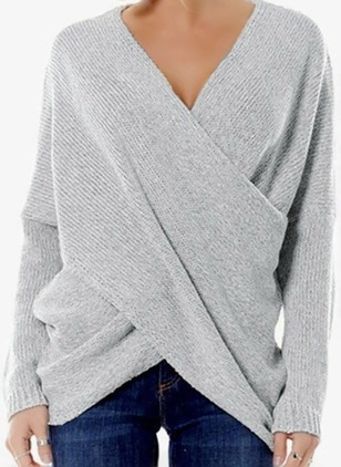 V-Neckline Solid Casual Asymmetrical Shift Sweaters (1238652)