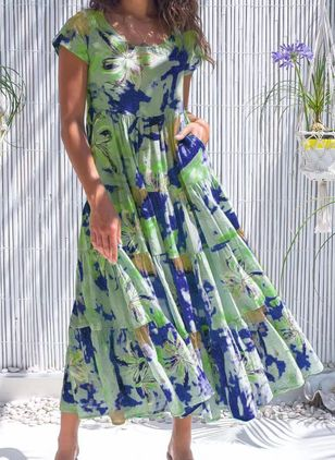 Casual Floral Round Neckline Maxi A-line Dress (147194611)
