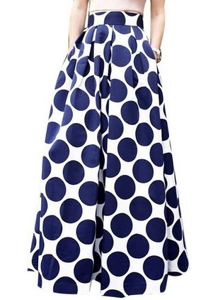 Color Block Mid-Calf Elegant Skirts