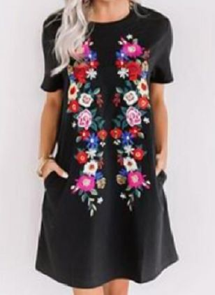 Casual Floral Tunic Round Neckline A-line Dress (100002132)