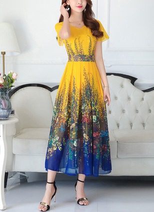 Floral Drop waist Half Sleeve Maxi A-line Dress