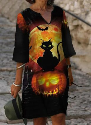 Halloween Animal Tunic V-Neckline Shift Dress (108089360)