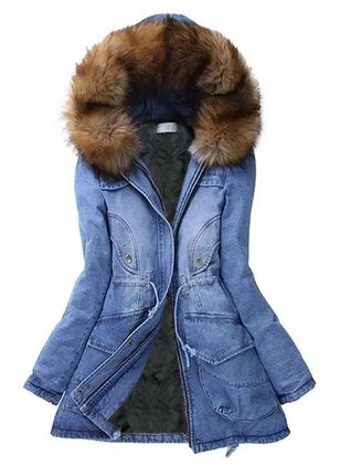 Long Sleeve Hooded Buttons Pockets Parkas (106587102)
