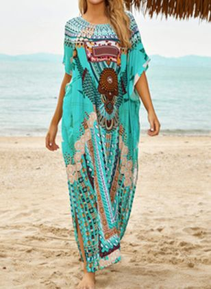 Plus Size Cotton Geometric Cover-Ups Swimwear (4363040)