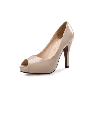 Peep Toe Patent Leather Stiletto Heel Shoes