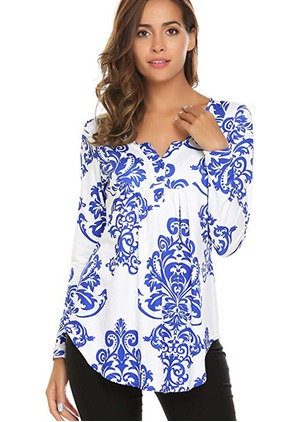 Cotton Floral V-Neckline Long Sleeve T-shirts