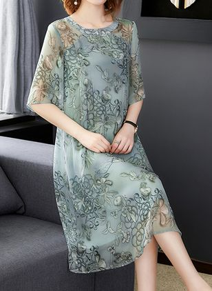 Casual Floral Tunic Round Neckline Shift Dress (1479788)