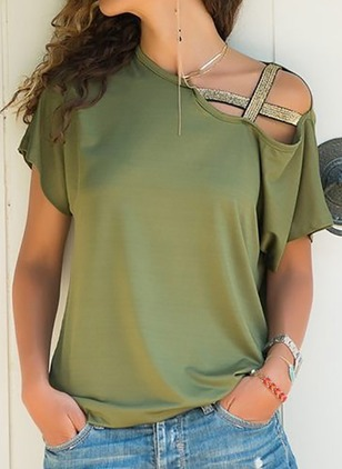 Color Block Cotton Oblique Neckline Short Sleeve Blouses
