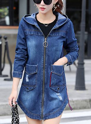 3/4 Sleeves Hooded Zipper Denim Jackets Coats