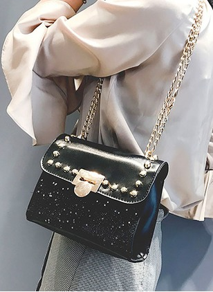 Shoulder PU Studded Chain Bags
