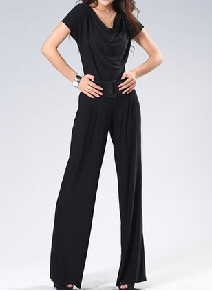 Cotton Solid Short Sleeve Casual Jumpsuits & Rompers