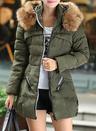 Polyester Long Sleeve Hooded Zipper Duffle Coats Coats