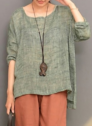 Solid Linen Round Neckline Long Sleeve Blouses