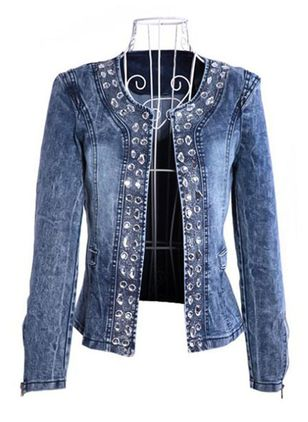 Long Sleeve Round Neck Denim Jackets