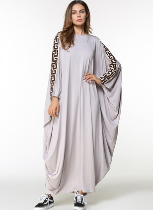 Cotton Geometric Long Sleeve Maxi Dresses