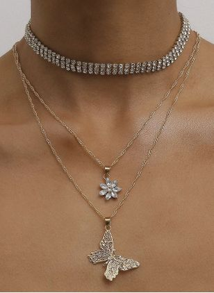 Elegant Animal Crystal Pendant Necklaces (4134956)