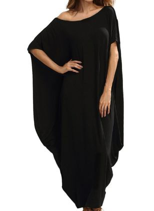 Plus Size Tunic Solid Round Neckline Casual Maxi Plus Dress (1521867)