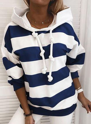 Plus Size Stripe Casual Draped Neckline Long Sleeve Blouses (104918576)