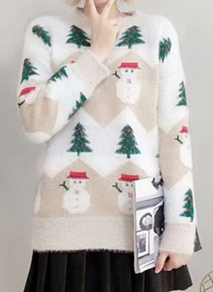 Round Neckline Color Block Christmas Loose Regular Shift Sweaters (131285870)
