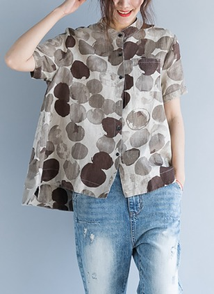 Geometric Casual Cotton Collar Short Sleeve Blouses