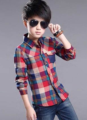 Boys' Plaid Collar Short Sleeve Tops