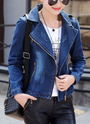Long Sleeve Lapel Zipper Denim Jackets Coats