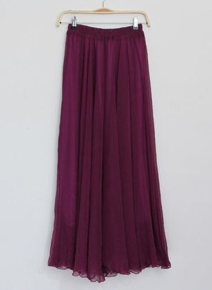 Solid Maxi Casual Skirts (4040490)