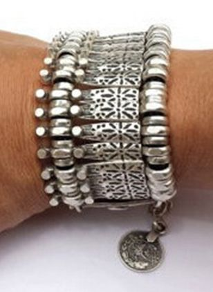 Casual Round No Stone Link Bracelets (4073953)