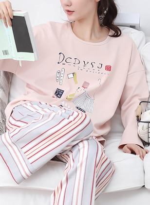 Cotton Round Neckline Stripe Pajamas