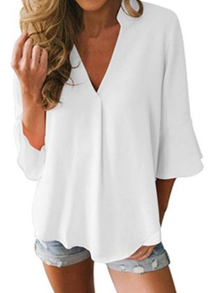 Plus Size Solid Casual V-Neckline 3/4 Sleeves Blouses (1542076)