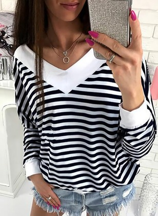 Stripe Cotton V-Neckline Long Sleeve Blouses
