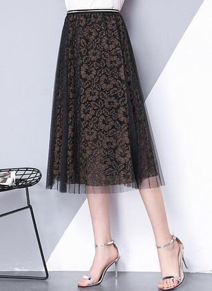 Lace Solid Mid-Calf Lace Skirts