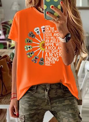 Alphabet Round Neck Short Sleeve Casual T-shirts (4356540)