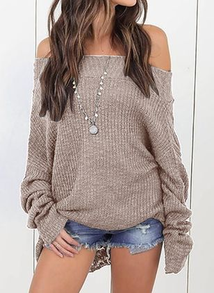 Off the Shoulder Solid Casual Loose Regular Shift Sweaters (100772599)