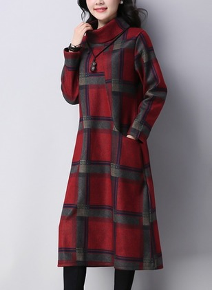 Plaid Long Sleeve Midi A-line Dress