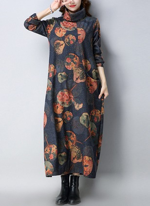 Floral Pockets Long Sleeve Maxi Shift Dress