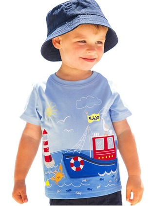 Boys' Print Round Neckline Short Sleeve Tops