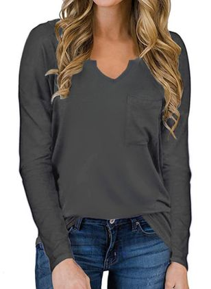 Solid V-Neckline Long Sleeve Casual T-shirts (100002342)