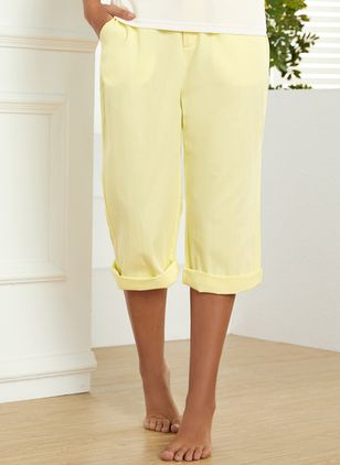 Casual Loose Pockets High Waist Cotton Blends Pants (1464064)