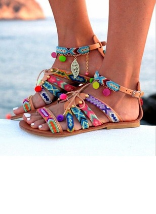 Buckle Sandals Leatherette Low Heel Shoes
