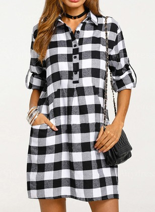Color Block Buttons Shirt Long Sleeve Dress