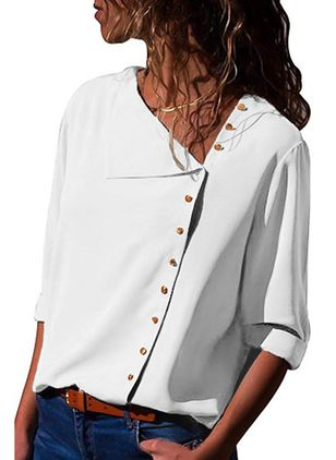 Solid Casual V-Neckline 3/4 Sleeves Blouses (1292985)