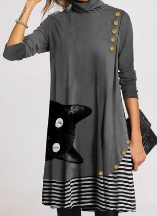Casual Animal Tunic High Neckline A-line Dress (107562303)