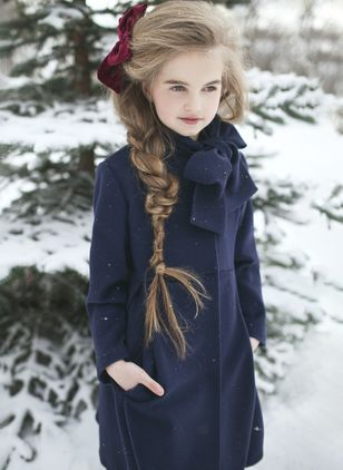 Girls' Basic Solid Stand Collar Coats