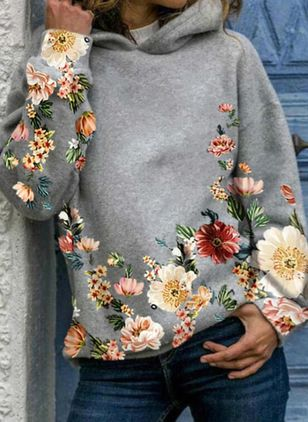 Floral V-Neckline Long Sleeve Casual T-shirts (146846083)
