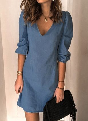 X-line Dress V-Neckline Denim Dress (4369135)