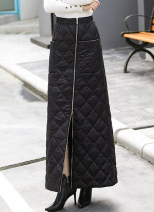 Solid Maxi Casual Zipper Pockets Skirts