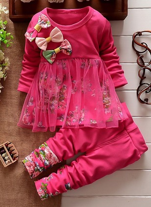 Girls' Cute Floral Daily Long Sleeve Clothing Sets